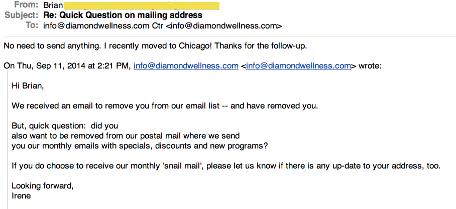 Follow Up Email Brian